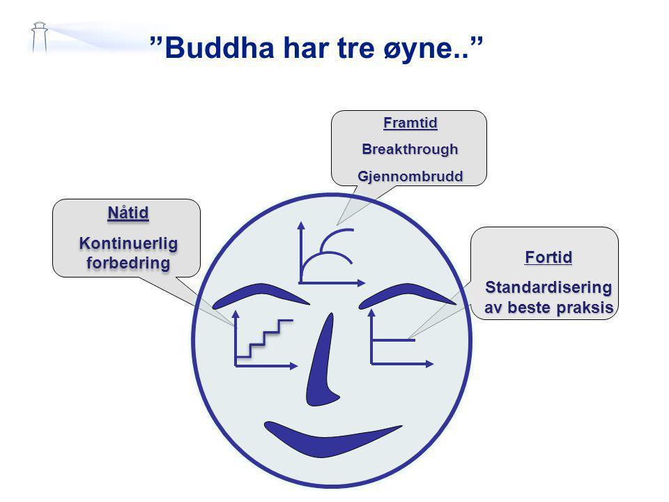 Buddha har tre øyne.. Fortid Standardisering av beste praksis Nåtid Kontinuerlig forbedring Nåtid Kontinuerlig forbedring FramtidBreakthroughGjennombrudd