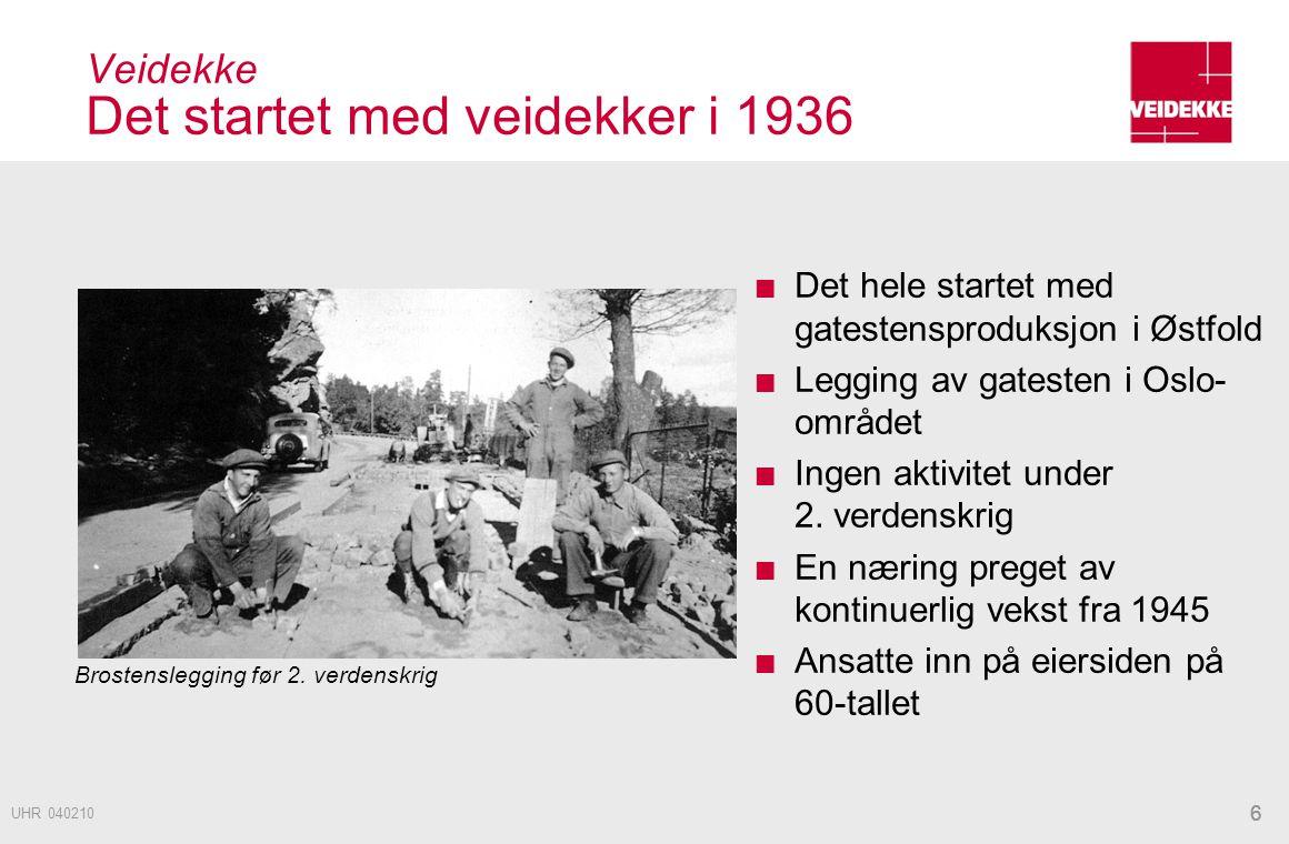 66 Veidekke Det startet med veidekker i 1936 Det hele startet med gatestensproduksjon i Østfold Legging av gatesten i Oslo- området Ingen aktivitet un