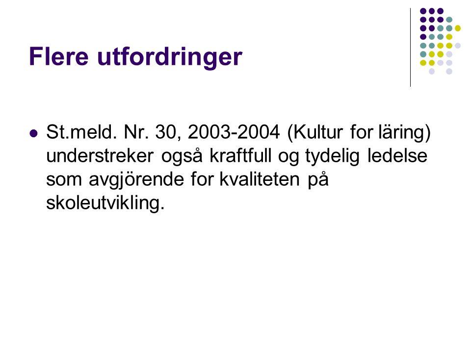 Flere utfordringer  St.meld. Nr. 30, 2003-2004 (Kultur for läring) understreker også kraftfull og tydelig ledelse som avgjörende for kvaliteten på sk