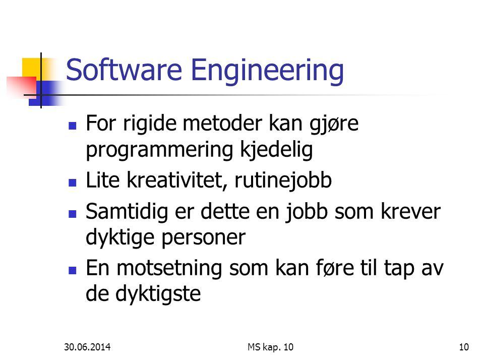 30.06.2014 MS kap. 1010 Software Engineering  For rigide metoder kan gjøre programmering kjedelig  Lite kreativitet, rutinejobb  Samtidig er dette