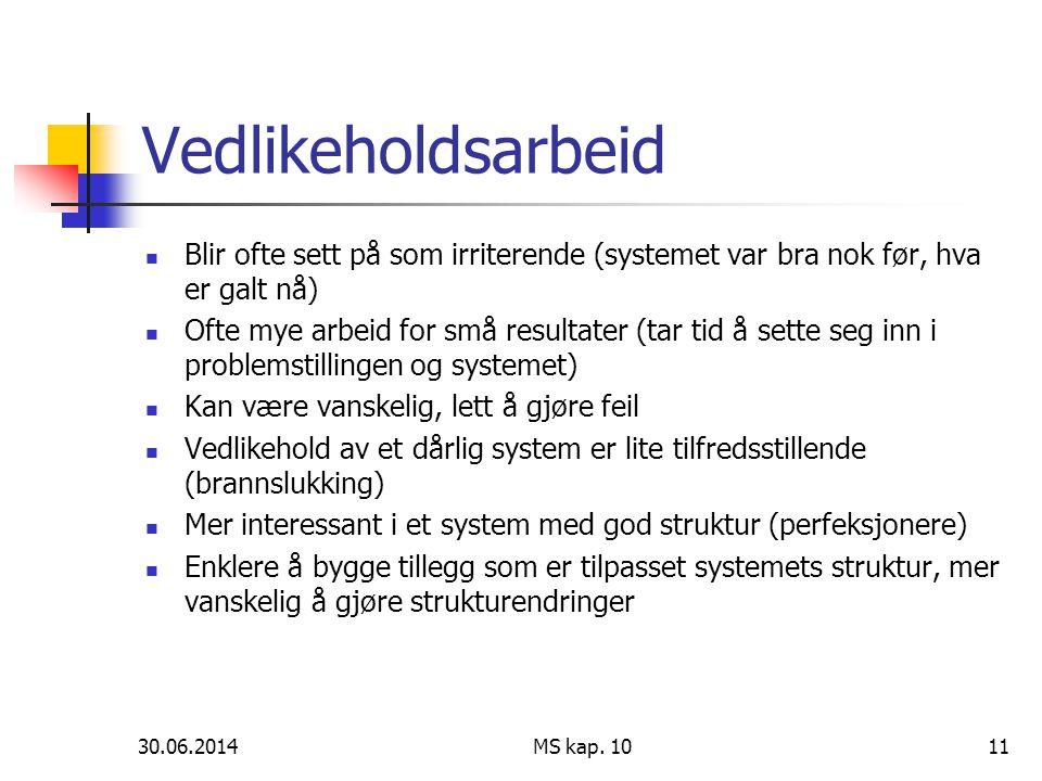 30.06.2014 MS kap. 1011 Vedlikeholdsarbeid  Blir ofte sett på som irriterende (systemet var bra nok før, hva er galt nå)  Ofte mye arbeid for små re