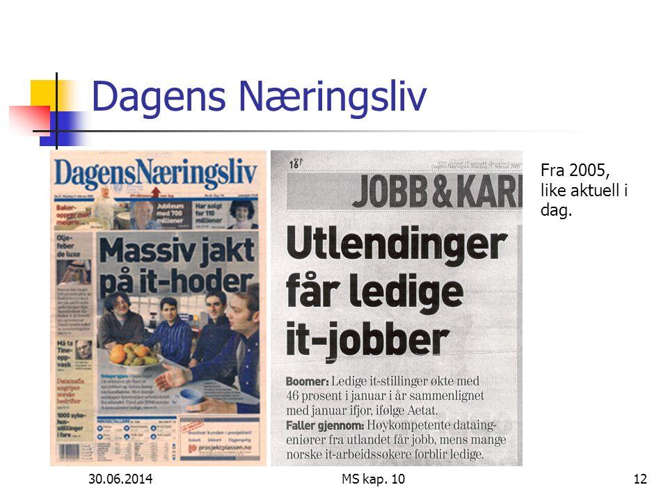 30.06.2014 MS kap. 1012 Dagens Næringsliv Fra 2005, like aktuell i dag.