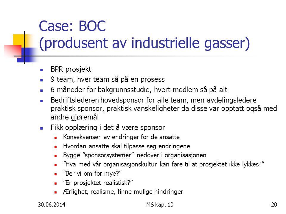 30.06.2014 MS kap. 1020 Case: BOC (produsent av industrielle gasser)  BPR prosjekt  9 team, hver team så på en prosess  6 måneder for bakgrunnsstud