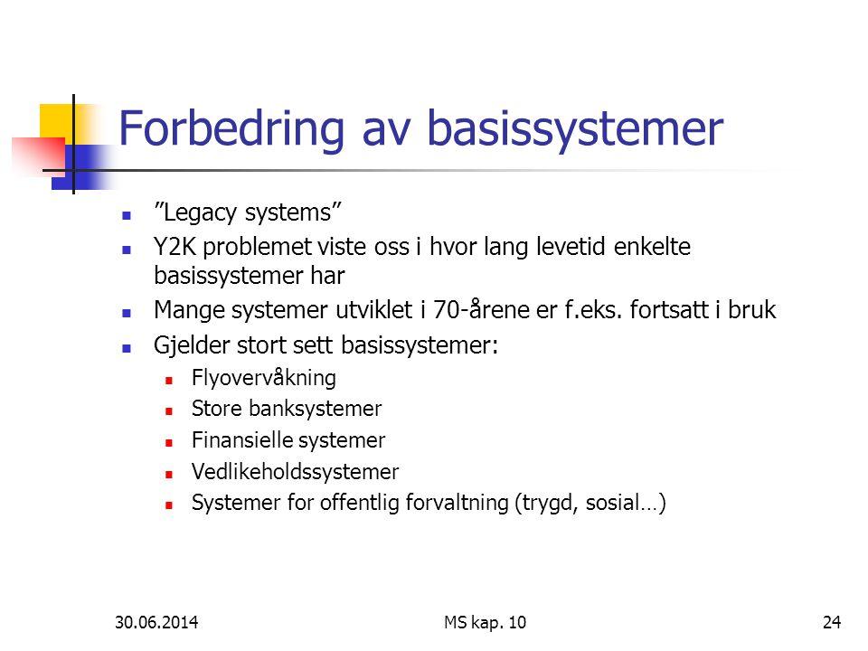 """30.06.2014 MS kap. 1024 Forbedring av basissystemer  """"Legacy systems""""  Y2K problemet viste oss i hvor lang levetid enkelte basissystemer har  Mange"""