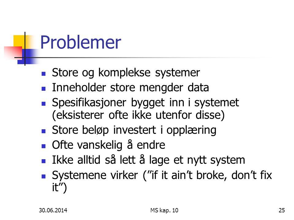 30.06.2014 MS kap. 1025 Problemer  Store og komplekse systemer  Inneholder store mengder data  Spesifikasjoner bygget inn i systemet (eksisterer of