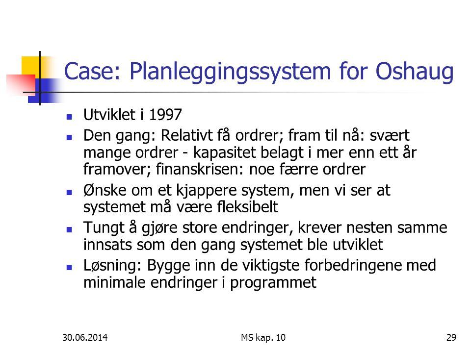 30.06.2014 MS kap. 1029 Case: Planleggingssystem for Oshaug  Utviklet i 1997  Den gang: Relativt få ordrer; fram til nå: svært mange ordrer - kapasi
