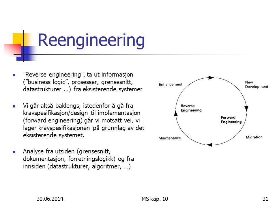 """30.06.2014 MS kap. 1031 Reengineering  """"Reverse engineering"""", ta ut informasjon (""""business logic"""", prosesser, grensesnitt, datastrukturer...) fra eks"""