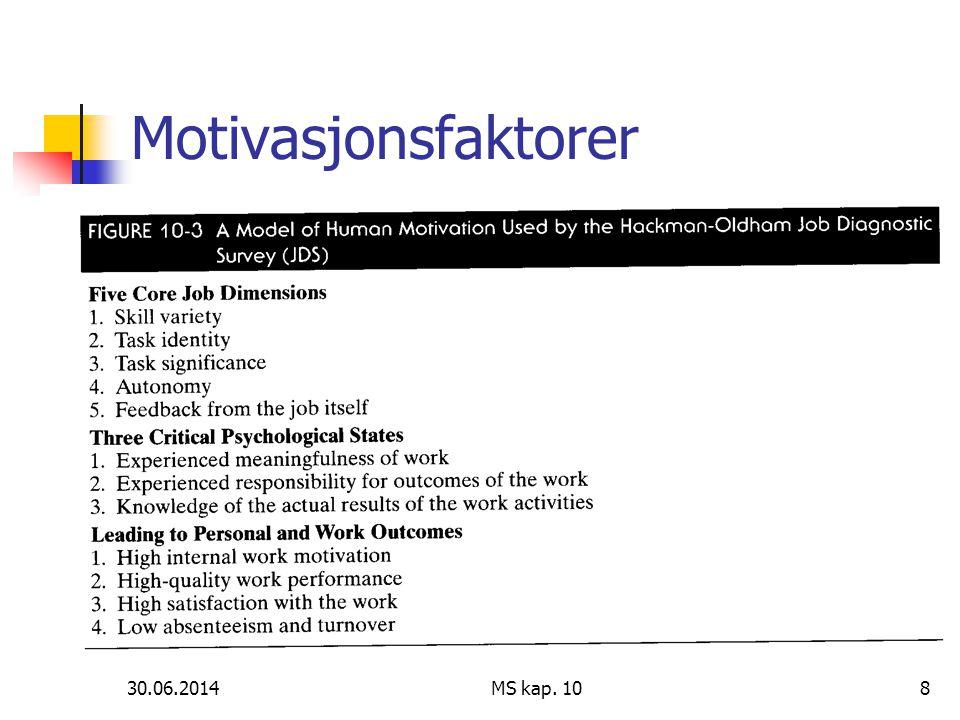 30.06.2014 MS kap. 108 Motivasjonsfaktorer