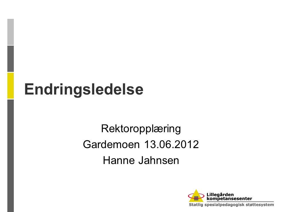 Endringsledelse Rektoropplæring Gardemoen 13.06.2012 Hanne Jahnsen