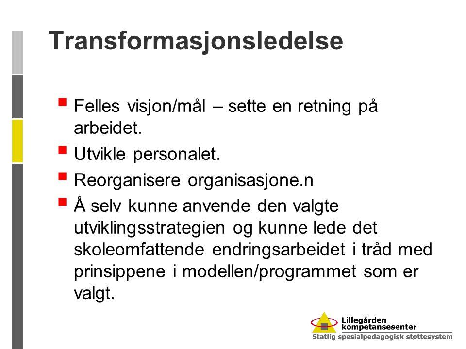 Transformasjonsledelse  Felles visjon/mål – sette en retning på arbeidet.  Utvikle personalet.  Reorganisere organisasjone.n  Å selv kunne anvende