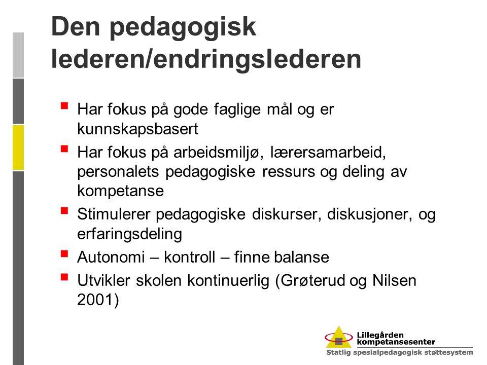 Den pedagogisk lederen/endringslederen  Har fokus på gode faglige mål og er kunnskapsbasert  Har fokus på arbeidsmiljø, lærersamarbeid, personalets