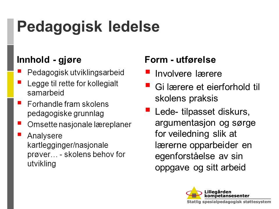 Pedagogisk ledelse Innhold - gjøre  Pedagogisk utviklingsarbeid  Legge til rette for kollegialt samarbeid  Forhandle fram skolens pedagogiske grunn