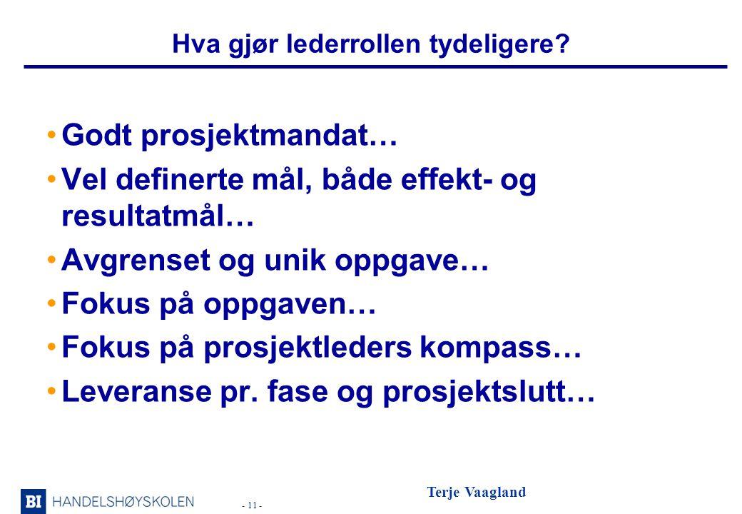 - 11 - Terje Vaagland Hva gjør lederrollen tydeligere.