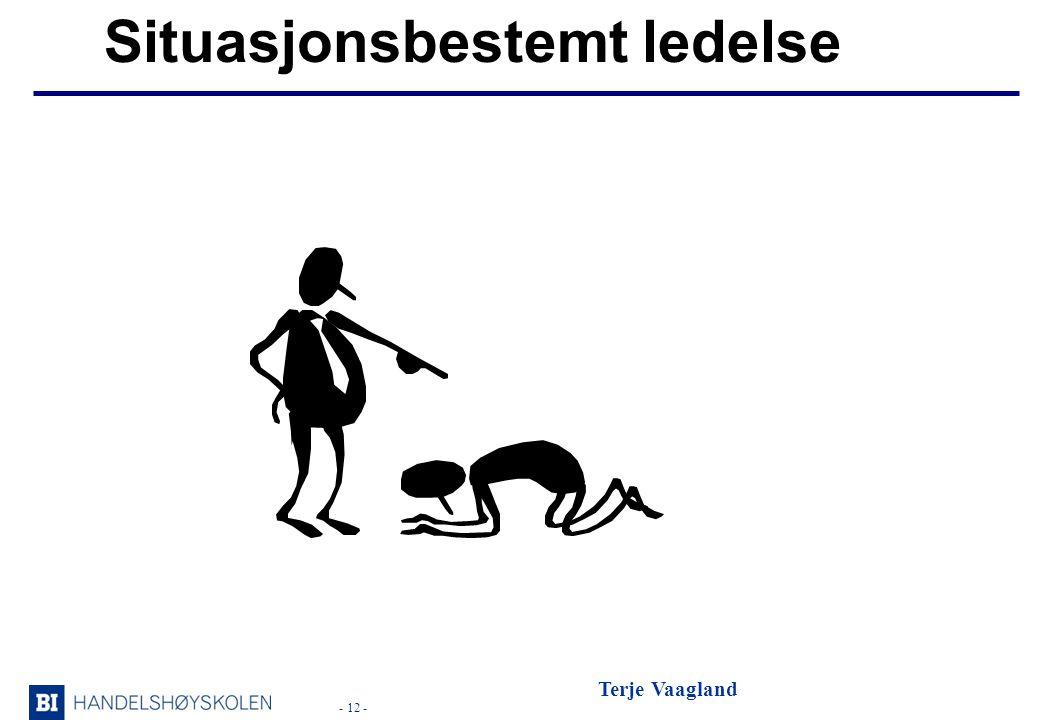 - 12 - Terje Vaagland Situasjonsbestemt ledelse