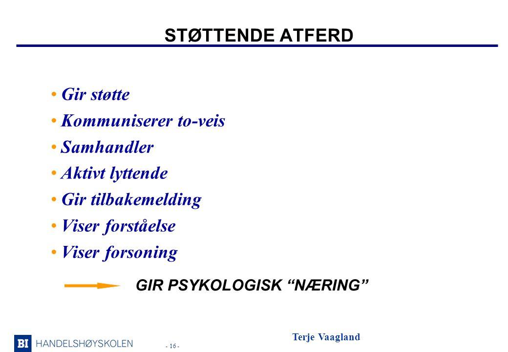 - 16 - Terje Vaagland STØTTENDE ATFERD •Gir støtte •Kommuniserer to-veis •Samhandler •Aktivt lyttende •Gir tilbakemelding •Viser forståelse •Viser forsoning GIR PSYKOLOGISK NÆRING