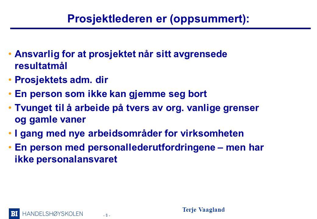 - 8 - Terje Vaagland Prosjektlederen er (oppsummert): •Ansvarlig for at prosjektet når sitt avgrensede resultatmål •Prosjektets adm.