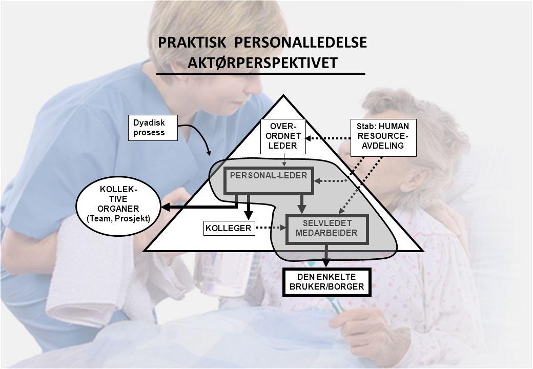 PRAKTISK PERSONALLEDELSE AKTØRPERSPEKTIVET DEN ENKELTE BRUKER/BORGER SELVLEDET MEDARBEIDER PERSONAL-LEDER OVER- ORDNET LEDER KOLLEGER Stab: HUMAN RESO