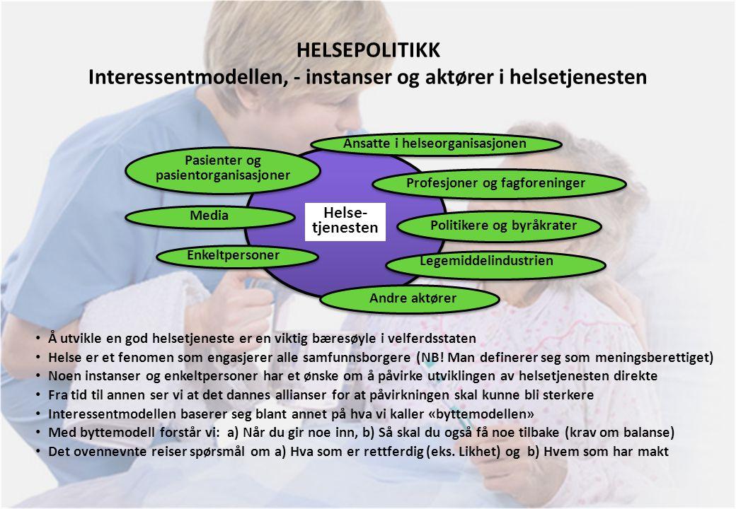 HELSEPOLITIKK Interessentmodellen, - instanser og aktører i helsetjenesten Helse- tjenesten Profesjoner og fagforeninger Andre aktører Pasienter og pa