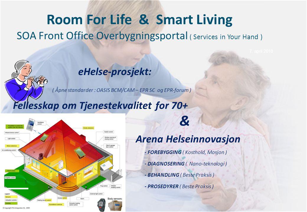 Room For Life & Smart Living SOA Front Office Overbygningsportal ( Services in Your Hand ) eHelse-prosjekt: ( Åpne standarder : OASIS BCM/CAM – EPR SC