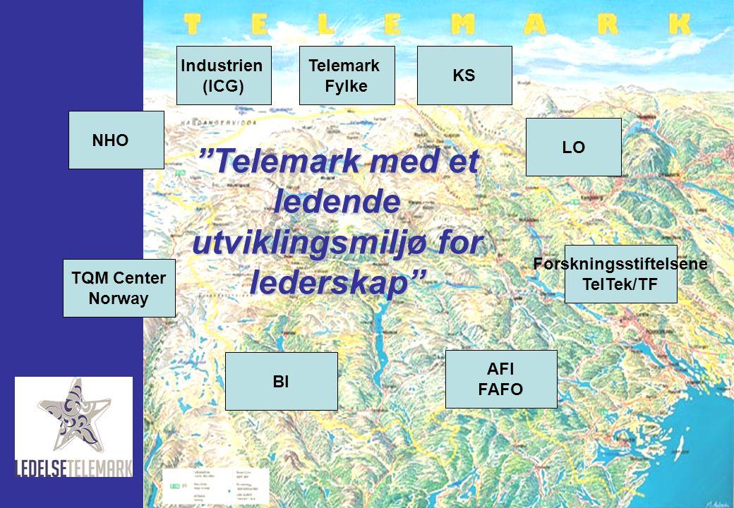 """NHO Industrien (ICG) Telemark Fylke KS LO TQM Center Norway BI AFI FAFO Forskningsstiftelsene TelTek/TF """"Telemark med et ledende utviklingsmiljø for l"""