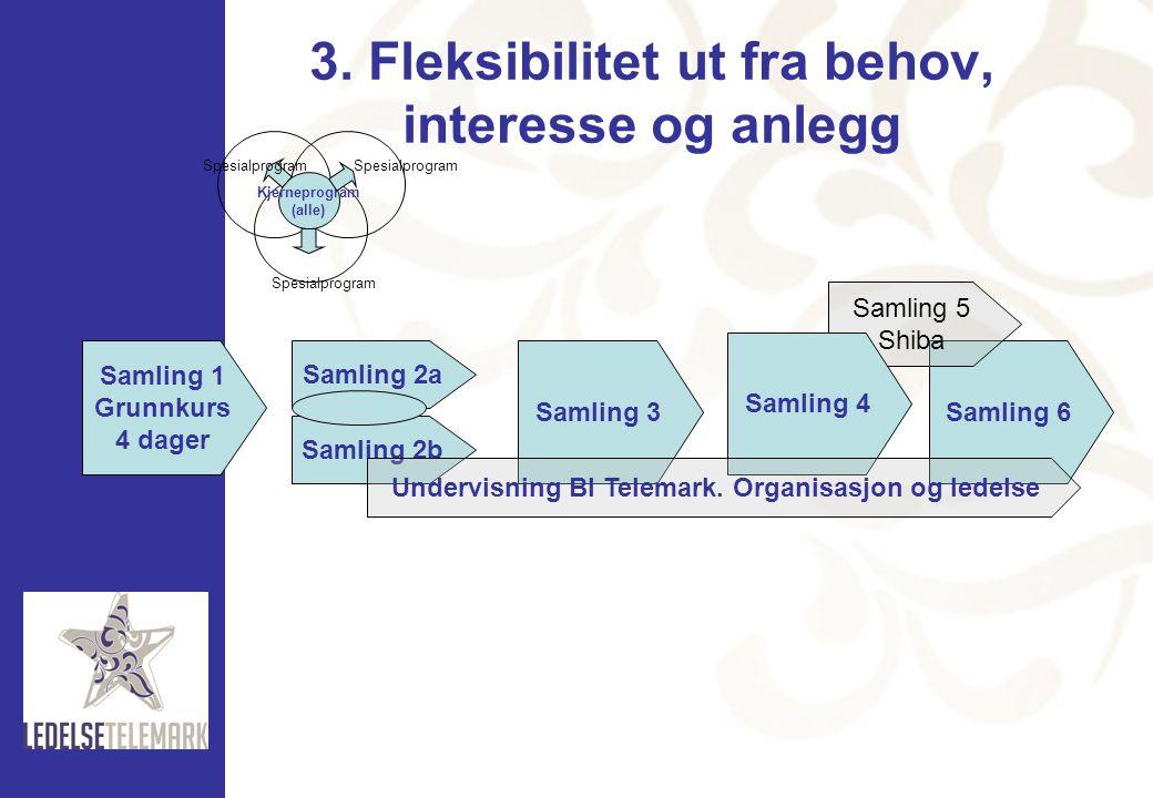 3. Fleksibilitet ut fra behov, interesse og anlegg Kjerneprogram (alle) Spesialprogram Samling 1 Grunnkurs 4 dager Samling 2a Samling 2b Samling 3Saml