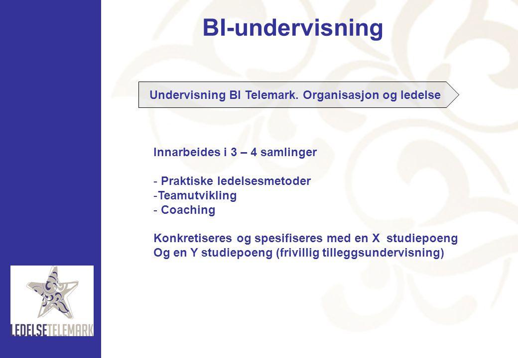 BI-undervisning Undervisning BI Telemark. Organisasjon og ledelse Innarbeides i 3 – 4 samlinger - Praktiske ledelsesmetoder -Teamutvikling - Coaching