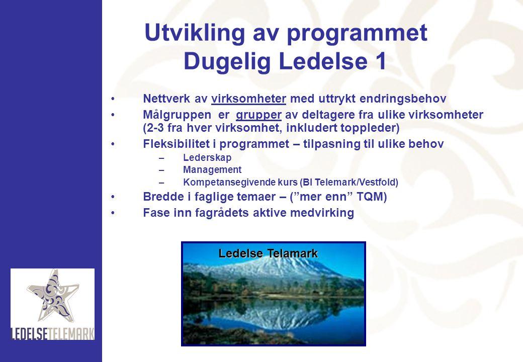 Utvikling av programmet Dugelig Ledelse 1 •Nettverk av virksomheter med uttrykt endringsbehov •Målgruppen er grupper av deltagere fra ulike virksomhet