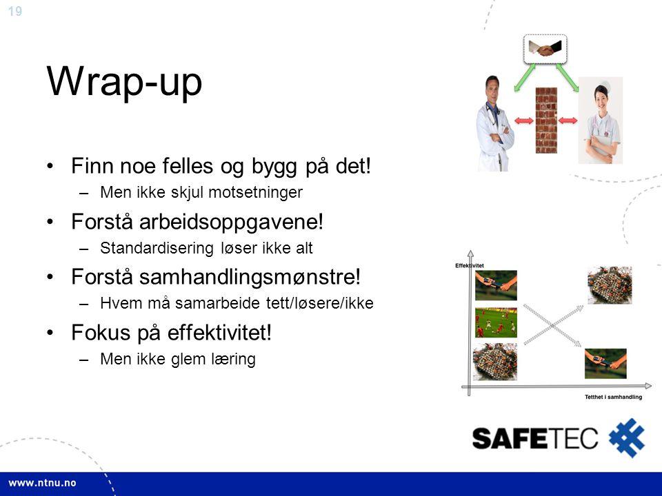 19 Wrap-up •Finn noe felles og bygg på det! –Men ikke skjul motsetninger •Forstå arbeidsoppgavene! –Standardisering løser ikke alt •Forstå samhandling
