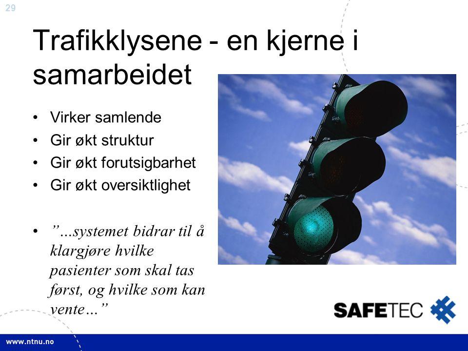 """29 Trafikklysene - en kjerne i samarbeidet •Virker samlende •Gir økt struktur •Gir økt forutsigbarhet •Gir økt oversiktlighet •""""…systemet bidrar til å"""
