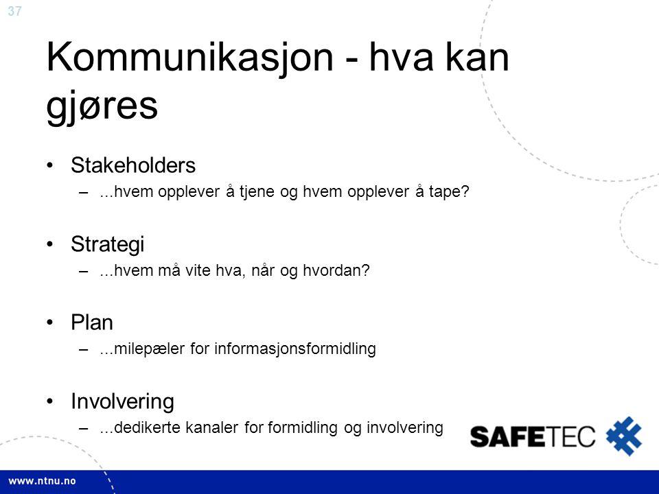 37 Kommunikasjon - hva kan gjøres •Stakeholders –...hvem opplever å tjene og hvem opplever å tape? •Strategi –...hvem må vite hva, når og hvordan? •Pl