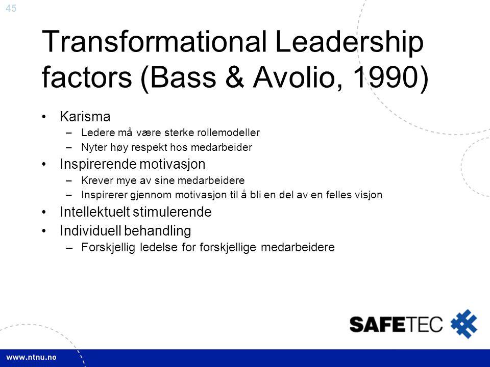 45 Transformational Leadership factors (Bass & Avolio, 1990) •Karisma –Ledere må være sterke rollemodeller –Nyter høy respekt hos medarbeider •Inspire