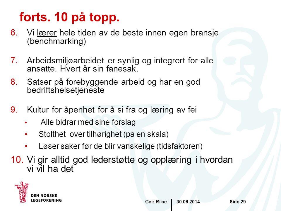 30.06.2014Geir RiiseSide 29 forts. 10 på topp. 6.Vi lærer hele tiden av de beste innen egen bransje (benchmarking) 7.Arbeidsmiljøarbeidet er synlig og