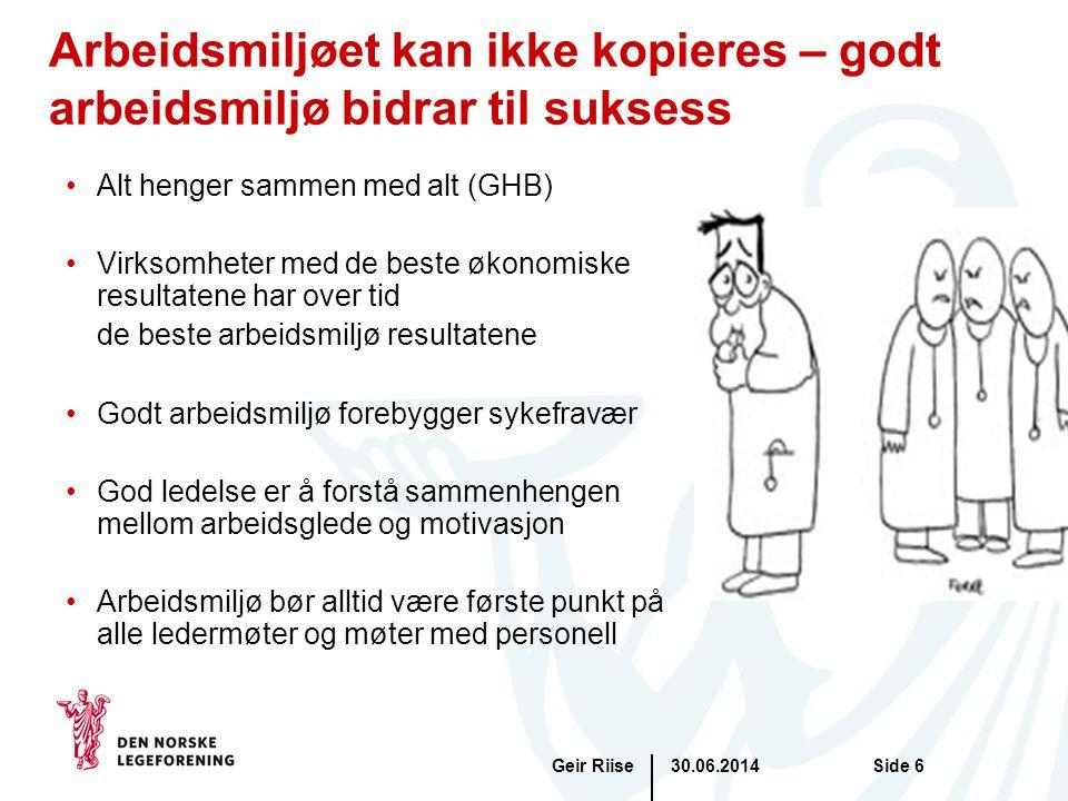 30.06.2014Geir RiiseSide 6 Arbeidsmiljøet kan ikke kopieres – godt arbeidsmiljø bidrar til suksess •Alt henger sammen med alt (GHB) •Virksomheter med