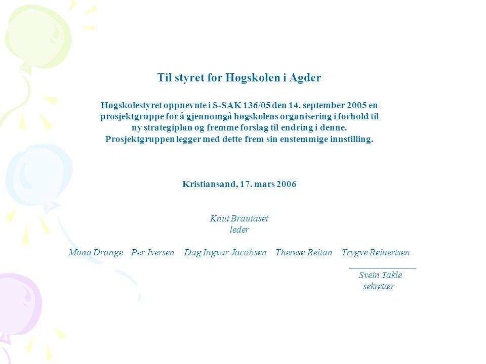 Til styret for Høgskolen i Agder Høgskolestyret oppnevnte i S-SAK 136/05 den 14. september 2005 en prosjektgruppe for å gjennomgå høgskolens organiser