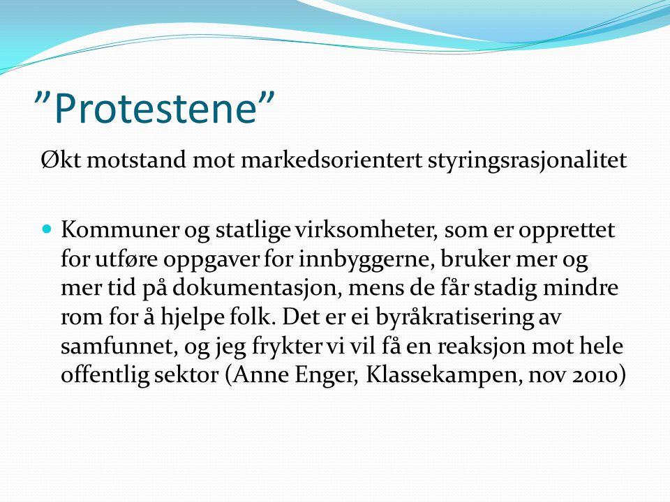 """""""Protestene"""" Økt motstand mot markedsorientert styringsrasjonalitet  Kommuner og statlige virksomheter, som er opprettet for utføre oppgaver for innb"""