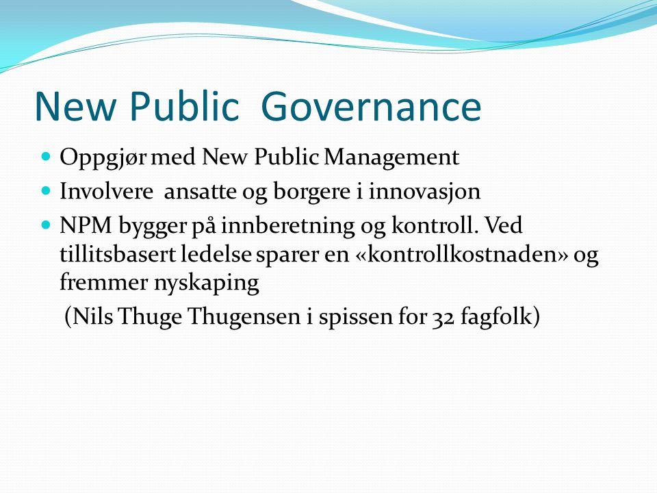 New Public Governance  Oppgjør med New Public Management  Involvere ansatte og borgere i innovasjon  NPM bygger på innberetning og kontroll. Ved ti