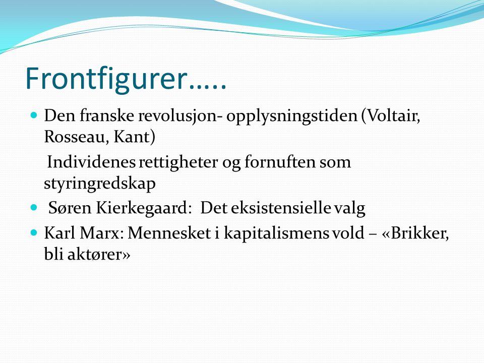 Frontfigurer…..  Den franske revolusjon- opplysningstiden (Voltair, Rosseau, Kant) Individenes rettigheter og fornuften som styringredskap  Søren Ki