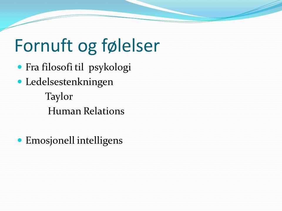Fornuft og følelser  Fra filosofi til psykologi  Ledelsestenkningen Taylor Human Relations  Emosjonell intelligens