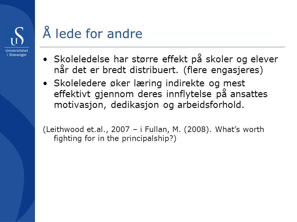 Noen råd Fra Fullan, M.(2008) What's worth fighting for in the principalship.