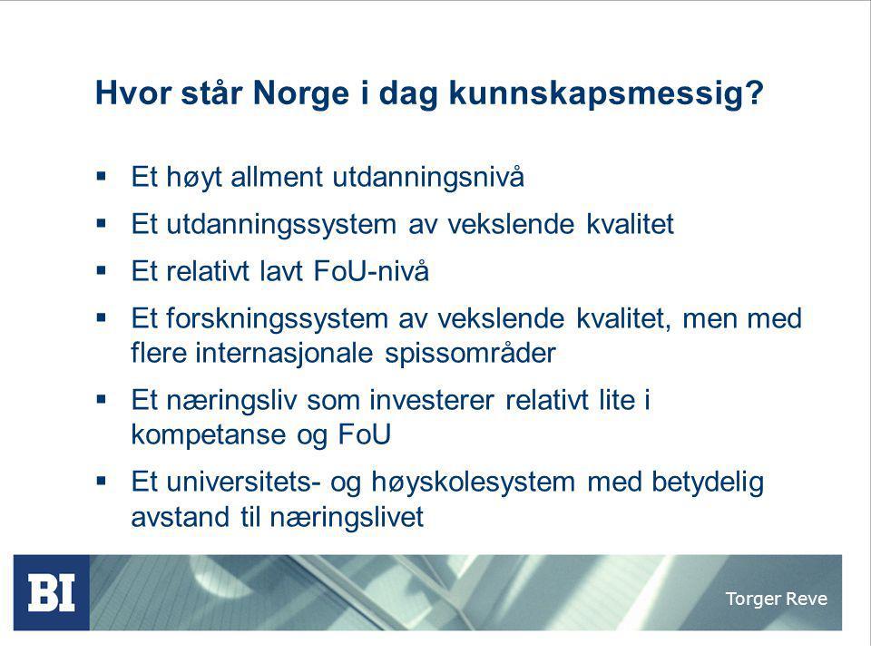 Torger Reve Hvor står Norge i dag kunnskapsmessig?  Et høyt allment utdanningsnivå  Et utdanningssystem av vekslende kvalitet  Et relativt lavt FoU