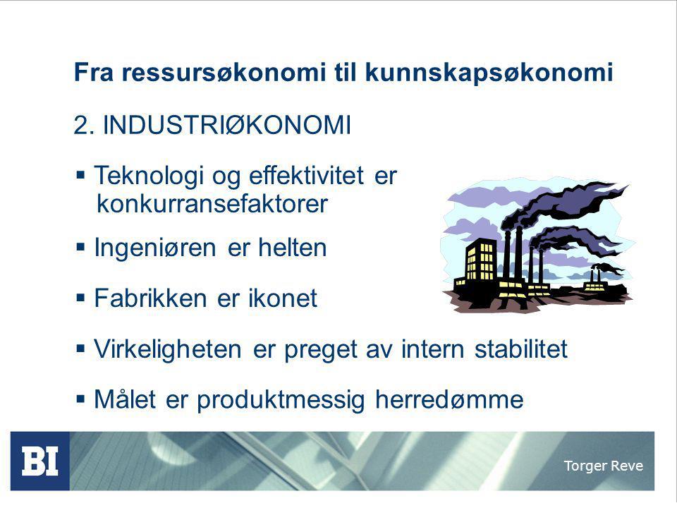 Torger Reve Fra ressursøkonomi til kunnskapsøkonomi 2. INDUSTRIØKONOMI  Fabrikken er ikonet  Virkeligheten er preget av intern stabilitet  Målet er