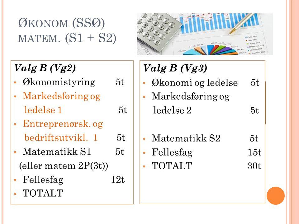 Ø KONOM (SSØ) MATEM. (S1 + S2) Valg B (Vg2)  Økonomistyring 5t  Markedsføring og ledelse 1 5t  Entreprenørsk. og bedriftsutvikl. 1 5t  Matematikk