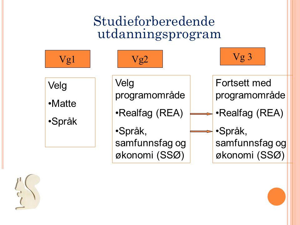 Studieforberedende utdanningsprogram Vg1Vg2 Vg 3 Velg •Matte •Språk Velg programområde •Realfag (REA) •Språk, samfunnsfag og økonomi (SSØ) Fortsett me