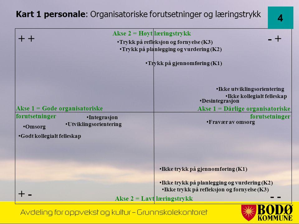 Akse 1 = Dårlige organisatoriske forutsetninger •Omsorg •Desintegrasjon •Ikke kollegialt felleskap Akse 1 = Gode organisatoriske forutsetninger - - +
