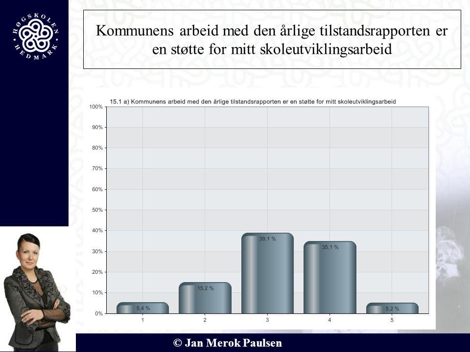 © Jan Merok Paulsen Kommunens arbeid med den årlige tilstandsrapporten er en støtte for mitt skoleutviklingsarbeid