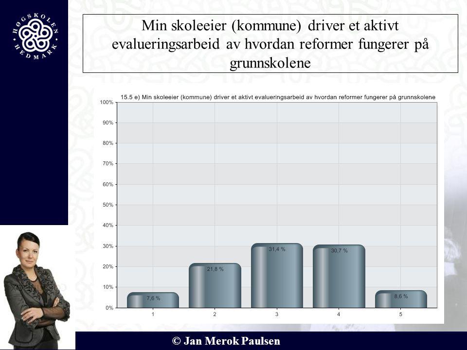 © Jan Merok Paulsen Min skoleeier (kommune) driver et aktivt evalueringsarbeid av hvordan reformer fungerer på grunnskolene