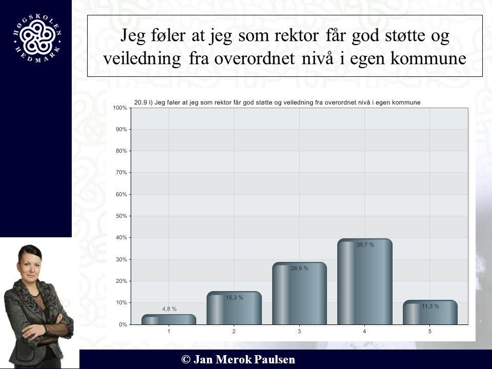 © Jan Merok Paulsen Jeg føler at jeg som rektor får god støtte og veiledning fra overordnet nivå i egen kommune