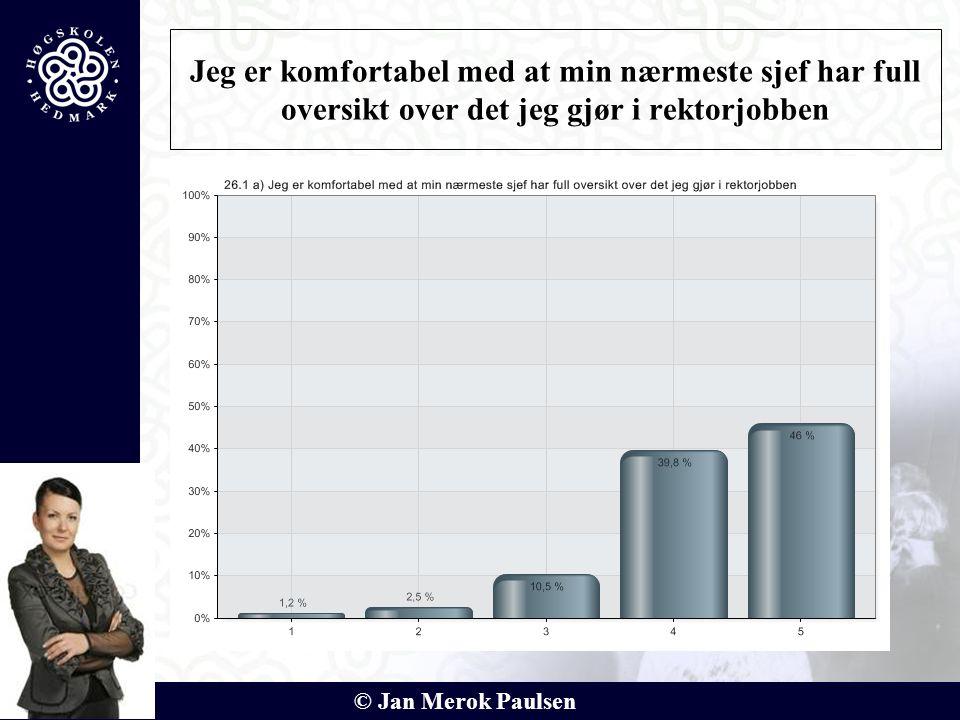 © Jan Merok Paulsen Jeg er komfortabel med at min nærmeste sjef har full oversikt over det jeg gjør i rektorjobben