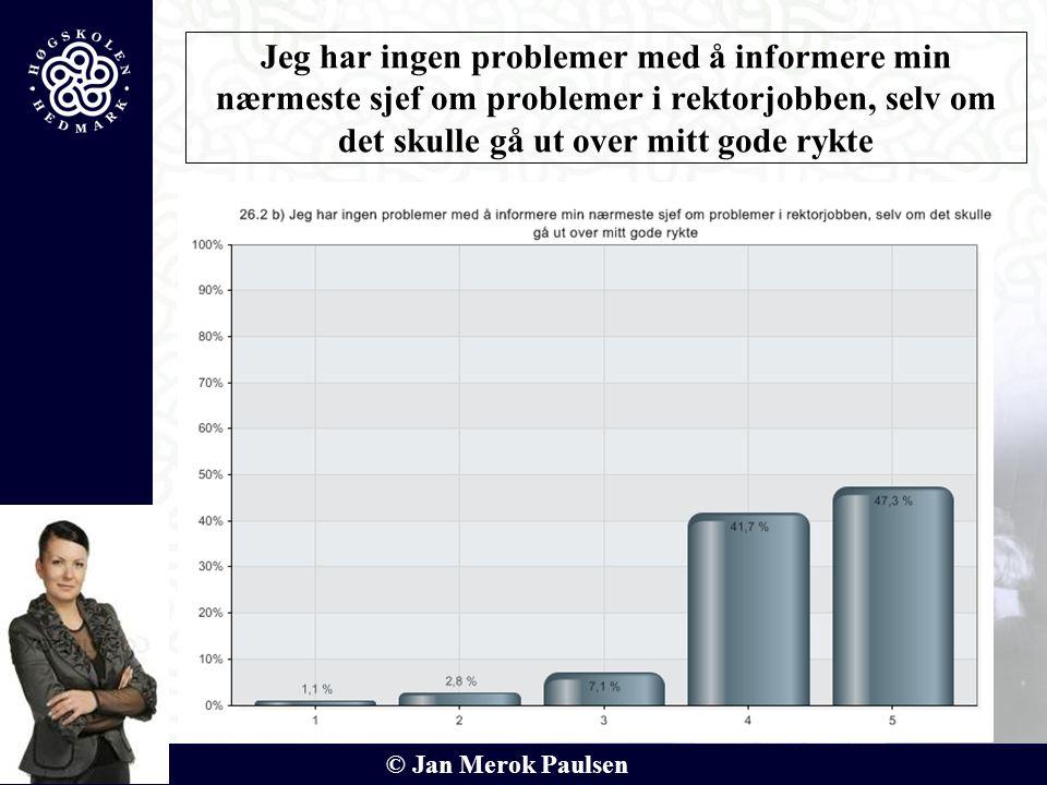 © Jan Merok Paulsen 22 Jeg har ingen problemer med å informere min nærmeste sjef om problemer i rektorjobben, selv om det skulle gå ut over mitt gode