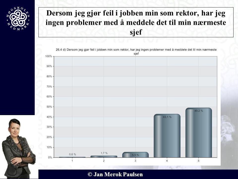 © Jan Merok Paulsen Dersom jeg gjør feil i jobben min som rektor, har jeg ingen problemer med å meddele det til min nærmeste sjef